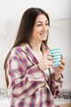 smiling young woman with cup - PhotoDune Item for Sale