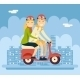 Hipster Male and Female Couple Riding Scooter - GraphicRiver Item for Sale