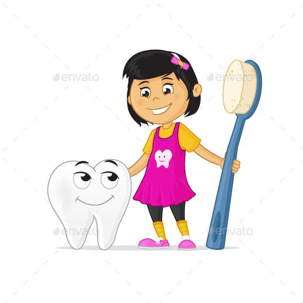 GraphicRiver Little Girl with Tooth Character and Toothbrush 11023962