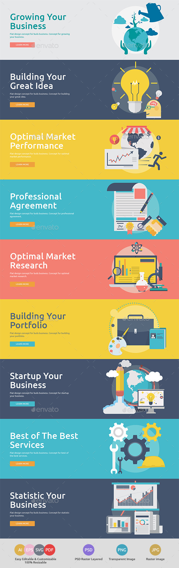 GraphicRiver Flat Concept Banners for Build Business 11024425