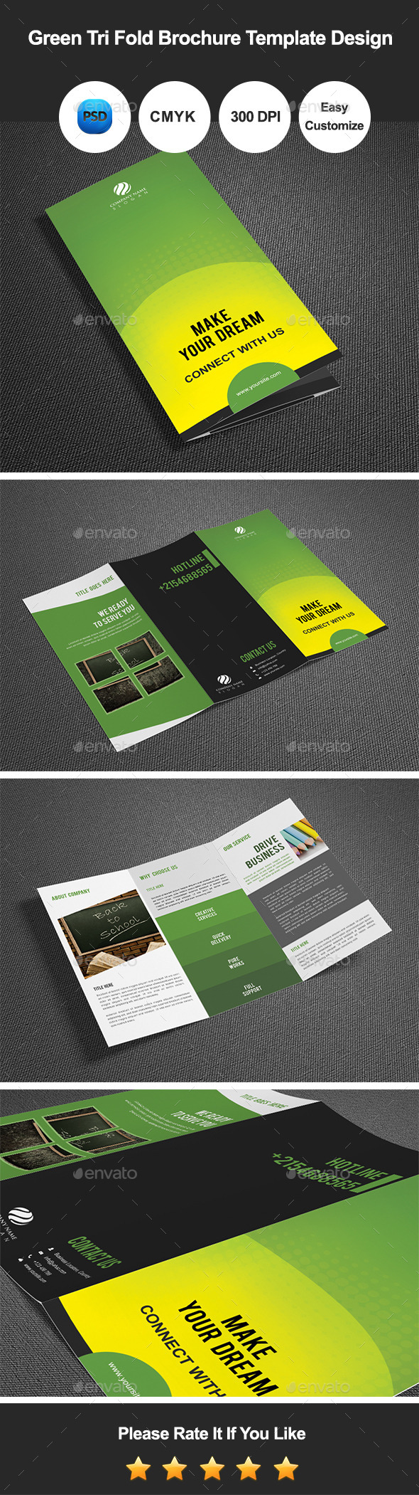 GraphicRiver Green Tri Fold Brochure Template Design 11024449