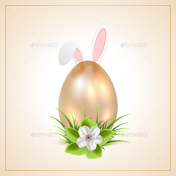 GraphicRiver Golden Easter Egg and Rabbit Ears 11024468