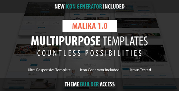 ThemeForest Malika Responsive Email & Builder Access 10928217