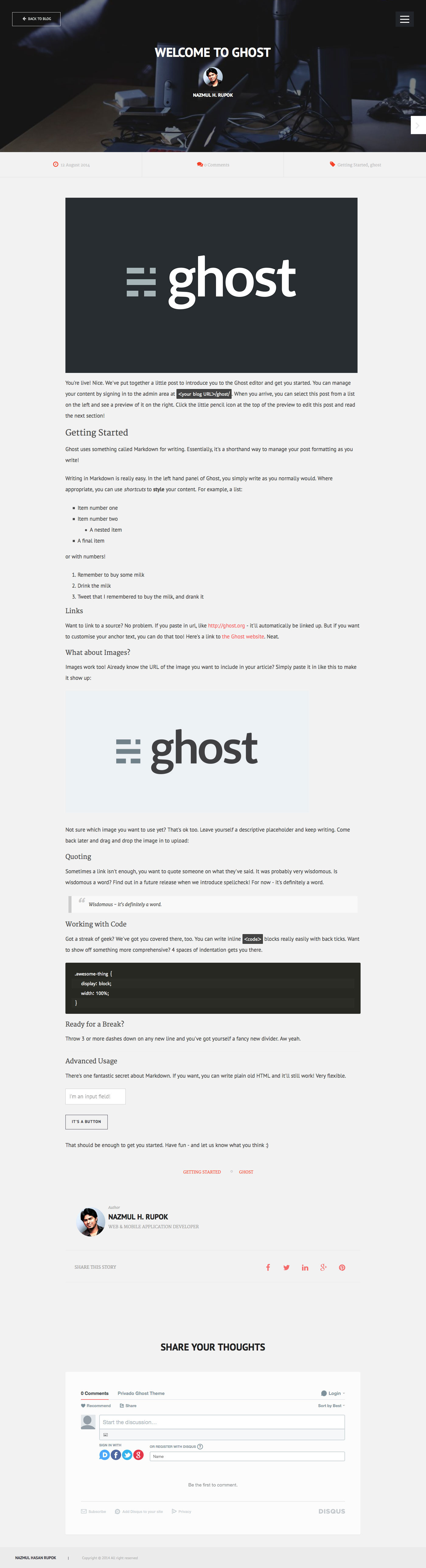 Privado - Minimal Blogging Theme for Ghost