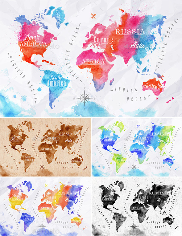 GraphicRiver Watercolor World Map 11024780