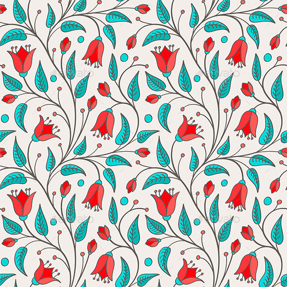 GraphicRiver Seamless Bellflower Pattern 11025049