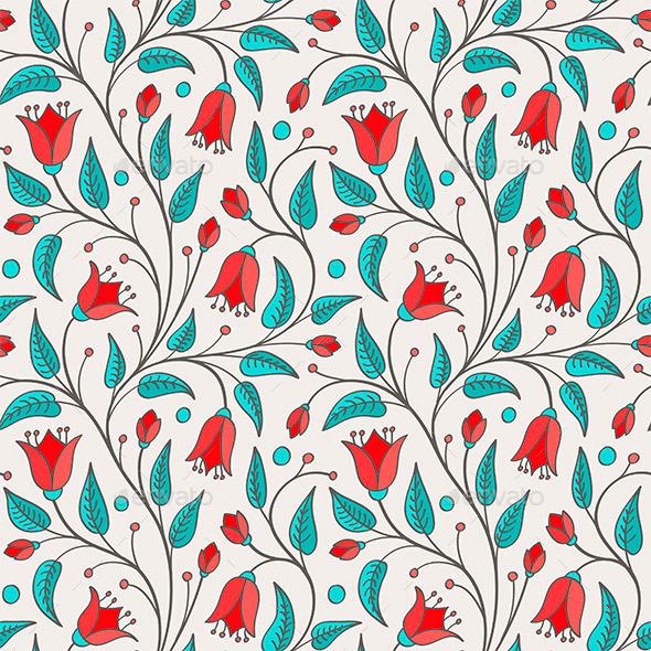 GraphicRiver Seamless Bellflower Pattern 11025049