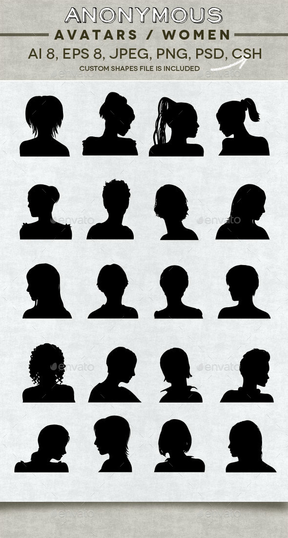 GraphicRiver Anonymous Women Avatars 11025283
