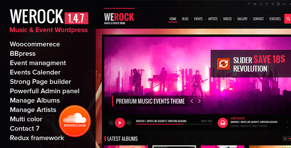 WeRock Multipurpose Music & Event Wordpress Theme - Entertainment WordPress