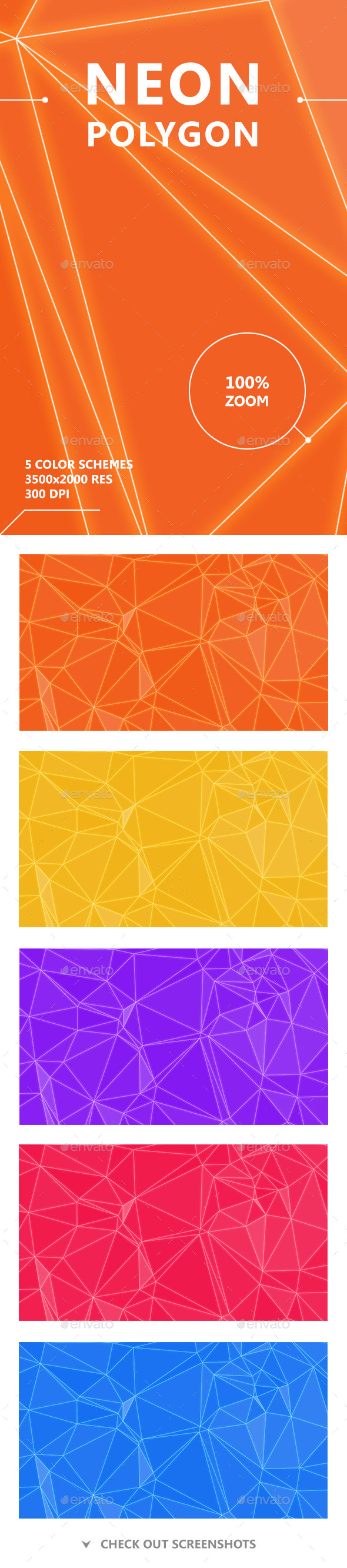 Neon Polygon Backgrounds