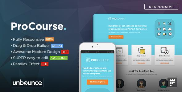ThemeForest ProCourse Unbounce eCourse Landing Page Template 10997584