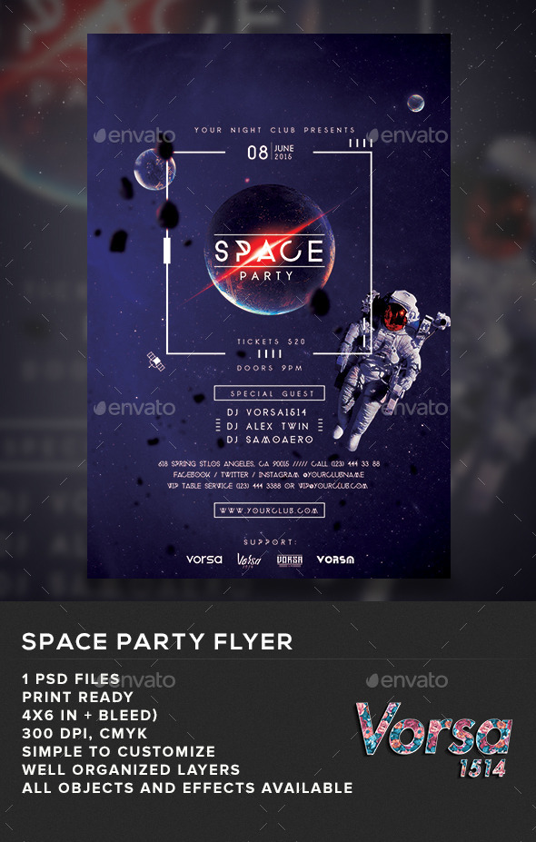 GraphicRiver Space Party Flyer 11025816