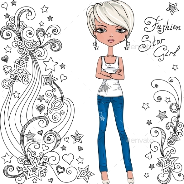 GraphicRiver Fashion Hipster Girl with Doodles and Stars 11025863