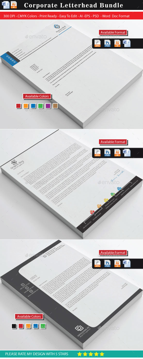 GraphicRiver Corporate Business Letterhead Bundle 11025894