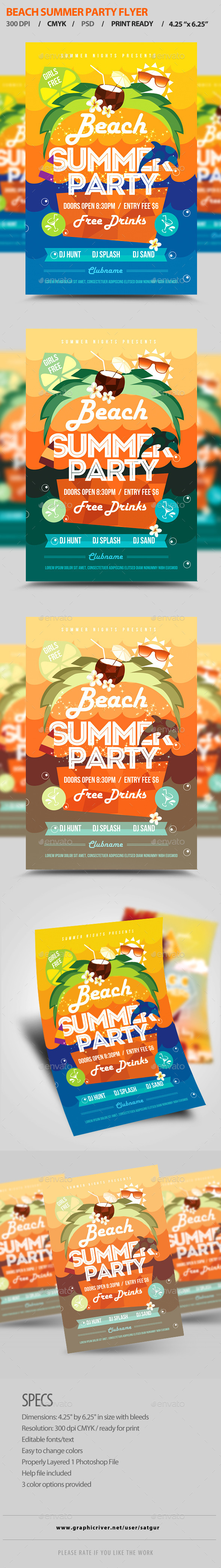 GraphicRiver Summer Party Flyer Template PSD 11025929