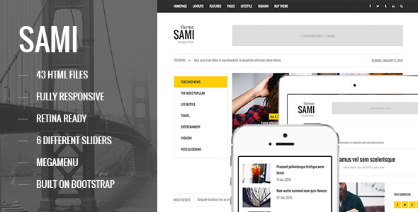 ThemeForest SAMI Responsive Magazine Blog HTML Template 11025941
