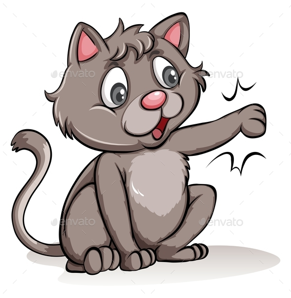 GraphicRiver Playful Gray Cat 11026013