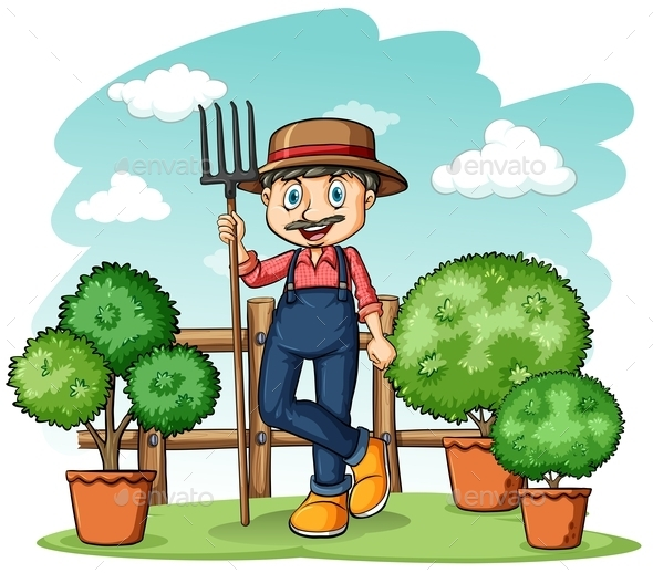 GraphicRiver Gardener with a Rake 11026023