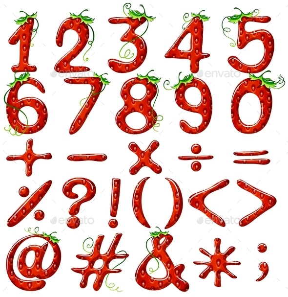 GraphicRiver Strawberry Designed Numbers 11026051