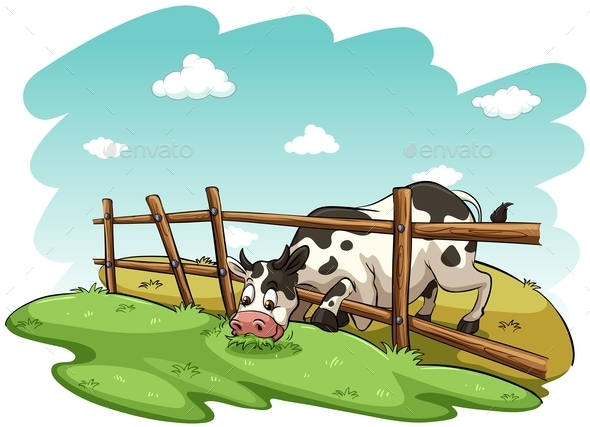 GraphicRiver A Cow at the Field 11026284