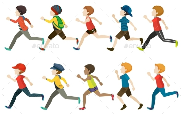 GraphicRiver A Group of Kids Running 11026287