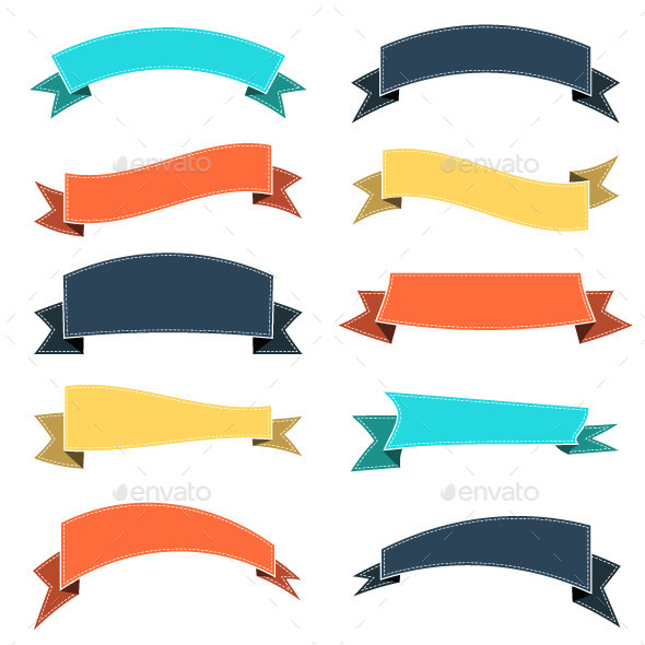 GraphicRiver Set of Colored Ribbons 11026505