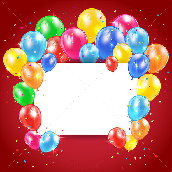 GraphicRiver Balloons and Card on Red Background 11026680