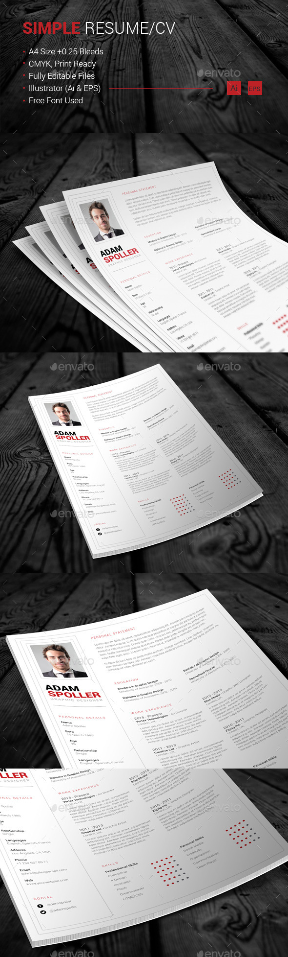 GraphicRiver Simple Resume CV 11026896