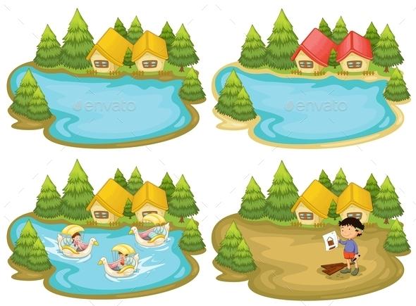 GraphicRiver Houses and Lake 11026918