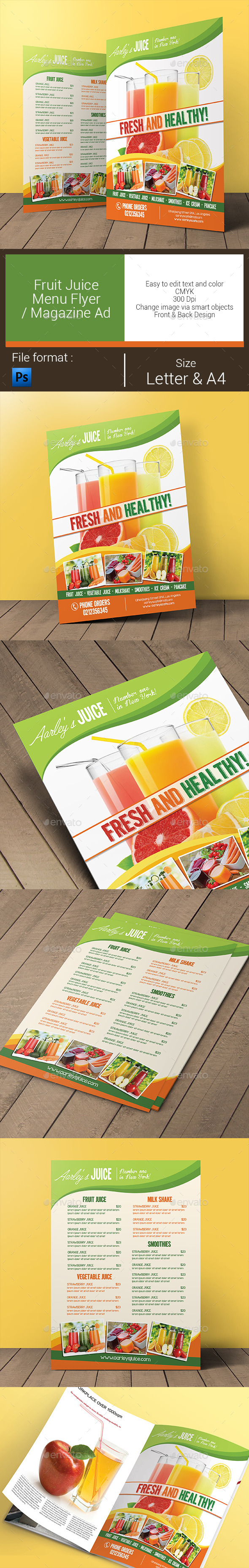 GraphicRiver Fruit Juice Menu Flyer Magazine Ad 11027875