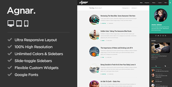 Agnar - Responsive WordPress Personal Blog Theme