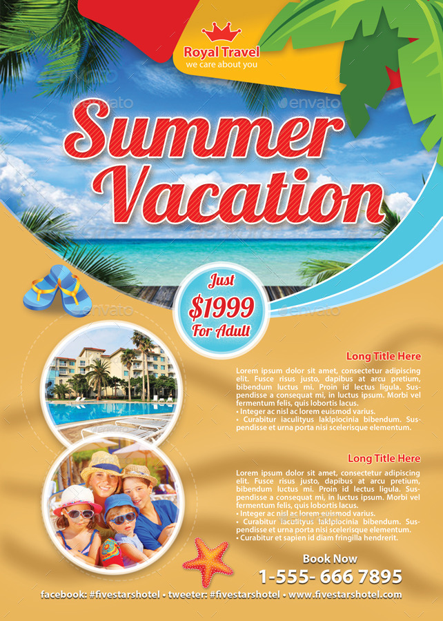 Travel Summer Vacation Flyer Template 83 by 21min | GraphicRiver