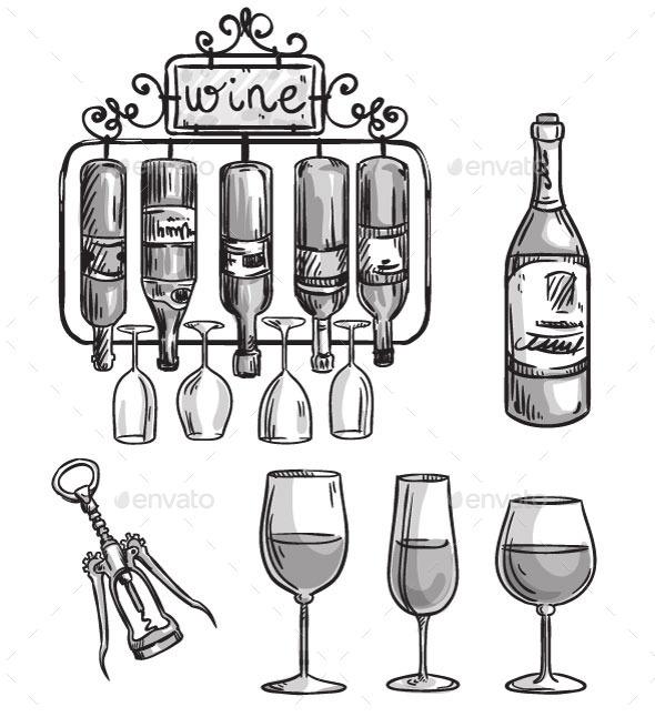 GraphicRiver Wine Elements 11028587