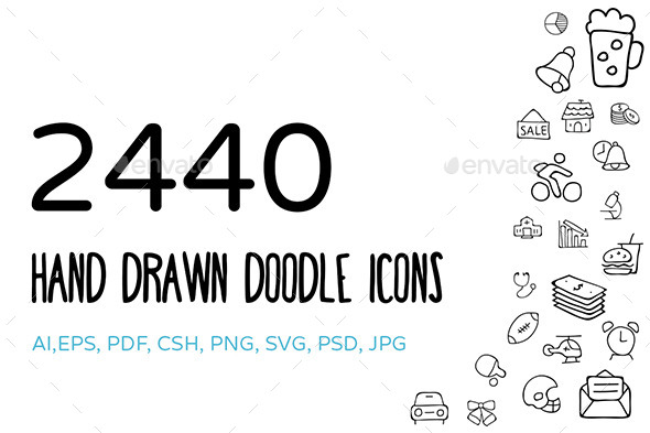 GraphicRiver Hand Drawn Doodle Icons Bundle 11028597