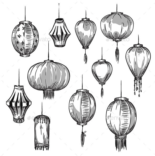 GraphicRiver Set of Chinese Lanterns 11028603