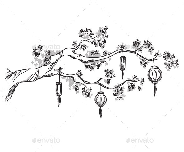 GraphicRiver Tree branch with Chinese Lanterns 11028618