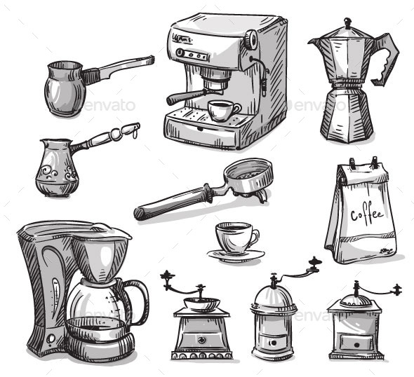 GraphicRiver Coffee Maker Elements 11028649