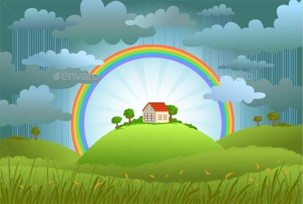 GraphicRiver Rainbow Landscape 11029995