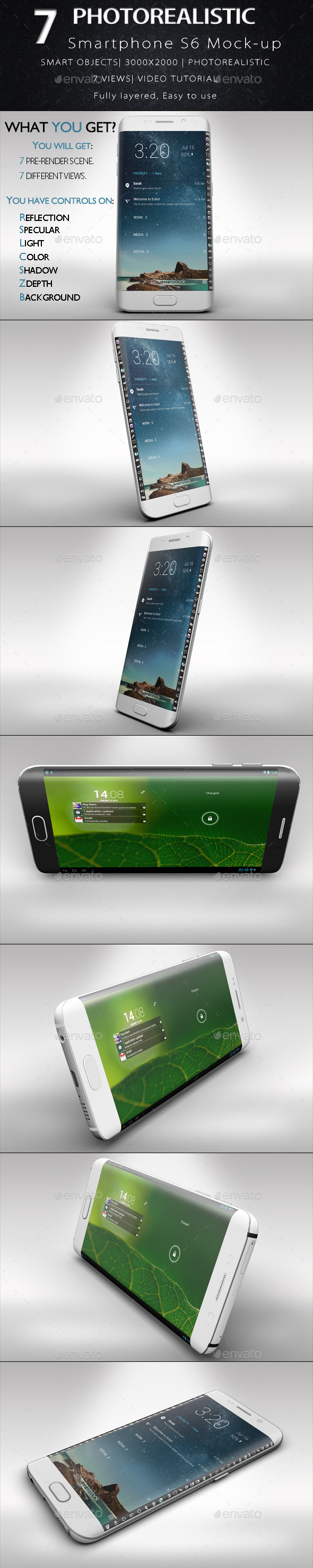 GraphicRiver Smartphone S6 Edge Mock-up Vol.2 11030535