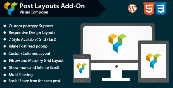 CodeCanyon Visual Composer Post Grid List Layout Addon 11030539