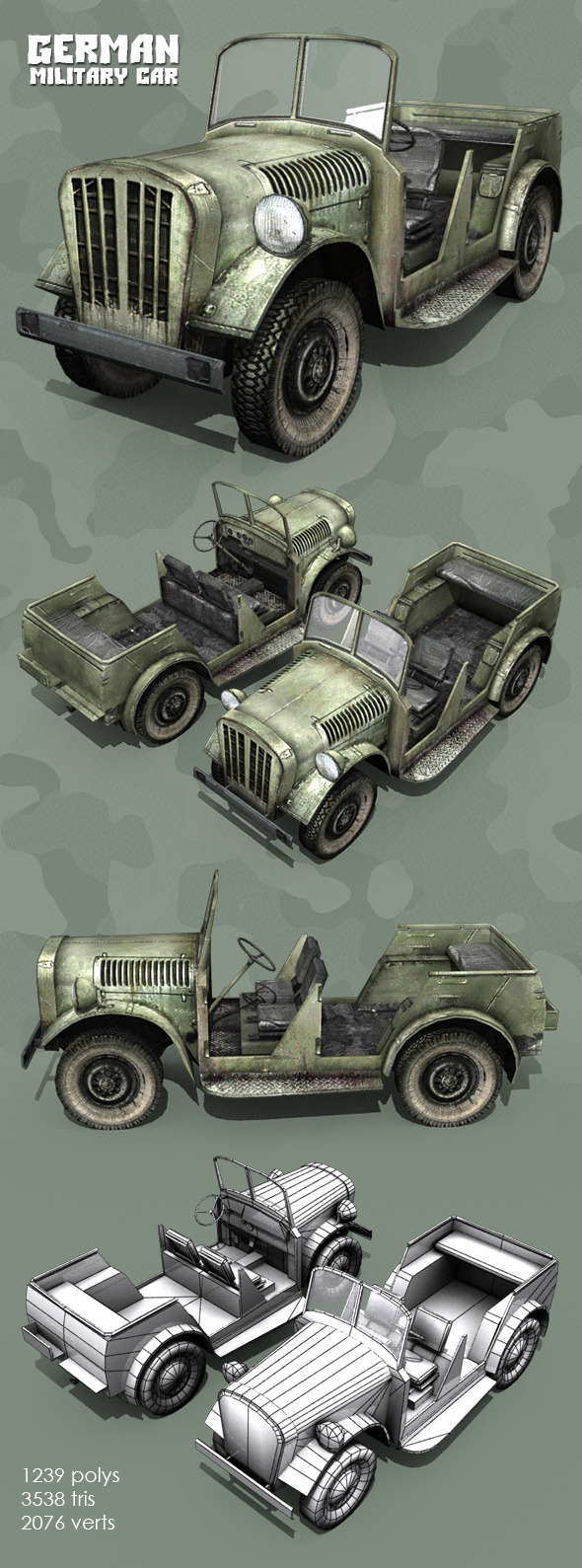 3DOcean German WWII Military Car 11030754
