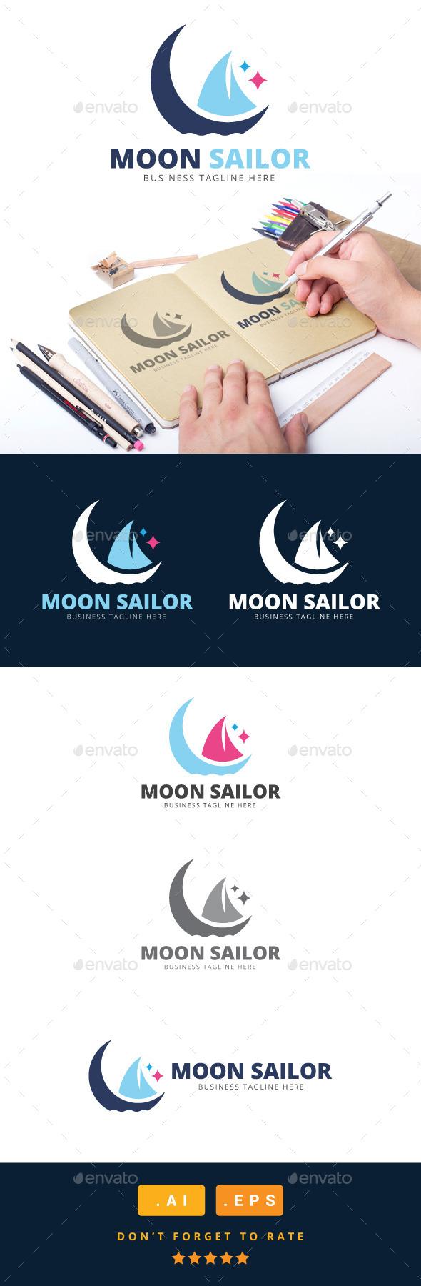 GraphicRiver Moon Sailor Logo 11031103