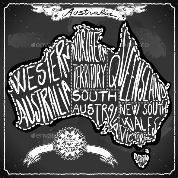 GraphicRiver Australia Map on Vintage Handwriting BlackBoard 11031545