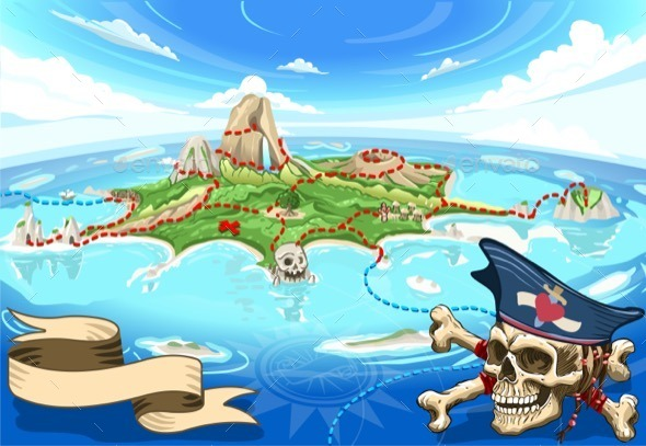 GraphicRiver Pirate Cove Island Treasure Map 11031561