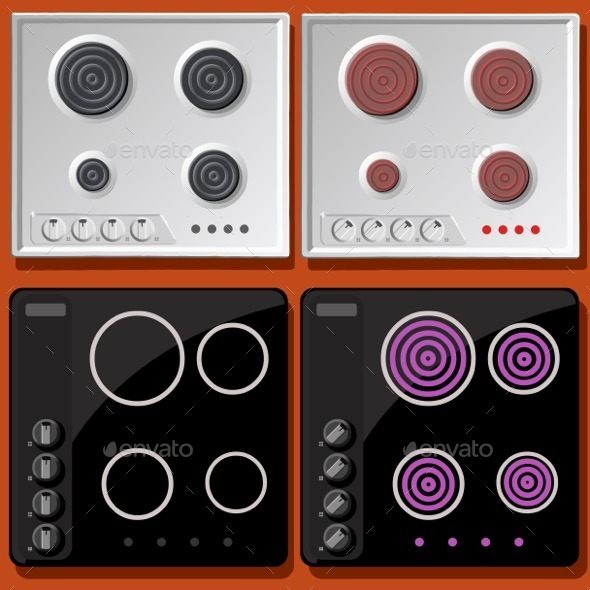 GraphicRiver Induction and Electric Cooker Switched On and Off 11031567