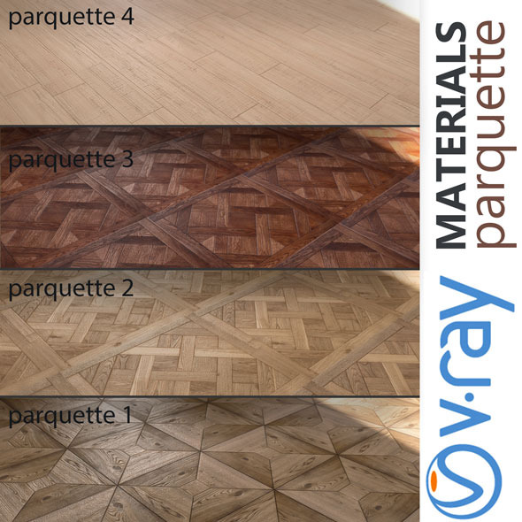 Parquette | 4 MATERIALS - 3DOcean Item for Sale