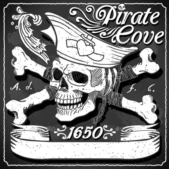 GraphicRiver Black Pirate Cove Flag Jolly Roger 11031581