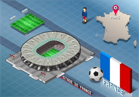 GraphicRiver Isometric Soccer Stadium France Paris 11031608