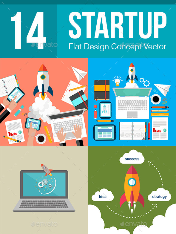 GraphicRiver 14 Startup Flat Design Concept 11031655