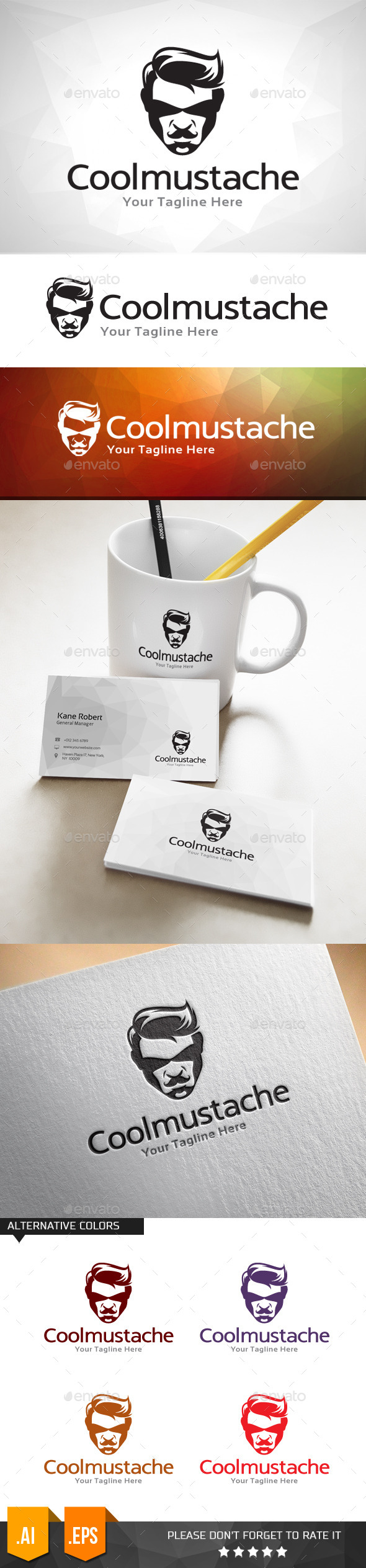GraphicRiver Cool Mustache Logo Template 11031659
